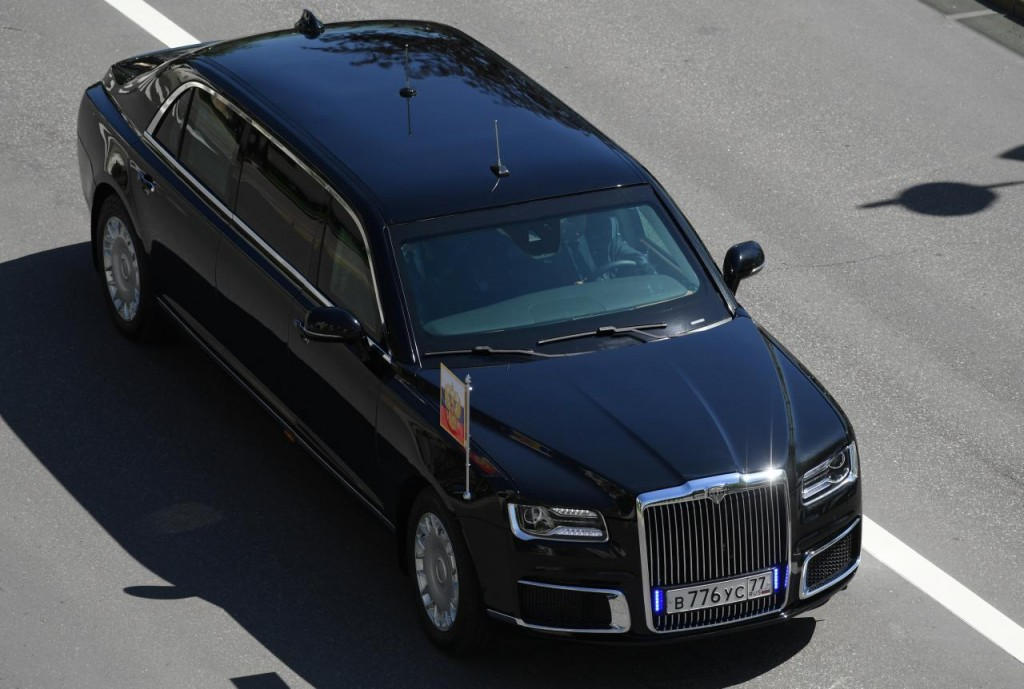 The new President Putin's Russian-made limousine drives during an inauguration ceremony at the Kremlin in Moscow